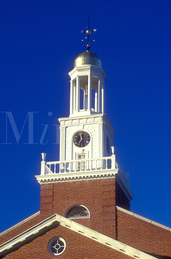 AJ1364, Connecticut, Clock tower of the Town Hall building in Clinton, Connecticut.