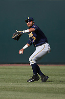 Jonah Davis (14) of the California Bears winds up to throw during a game against the UCLA Bruins at Jackie Robinson Stadium on March 25, 2017 in Los Angeles, California. UCLA defeated California, 9-4. (Larry Goren/Four Seam Images)