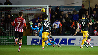Newport County's Padraig Amond scores his side's second goal<br /> <br /> Photographer Chris Vaughan/CameraSport<br /> <br /> The EFL Sky Bet League Two - Lincoln City v Newport County - Saturday 22nd December 201 - Sincil Bank - Lincoln<br /> <br /> World Copyright © 2018 CameraSport. All rights reserved. 43 Linden Ave. Countesthorpe. Leicester. England. LE8 5PG - Tel: +44 (0) 116 277 4147 - admin@camerasport.com - www.camerasport.com