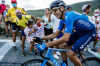 Carlos Verona (ESP/Movistar) cheered forward by fans <br /> <br /> Stage 8 from Cazères-sur-Garonne to Loudenvielle 141km<br /> 107th Tour de France 2020 (2.UWT)<br /> (the 'postponed edition' held in september)<br /> ©kramon