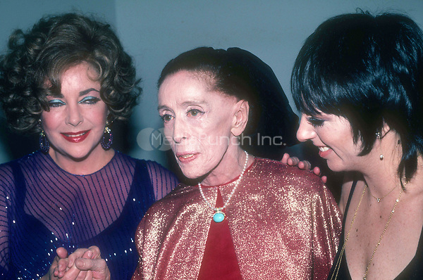 Liz Taylor, Martha Graham, Liza Minelli<br /> Photo By Adam Scull/PHOTOlink/MediaPunch
