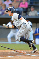 Charleston RiverDogs right fielder Tyler Austin #11 runs to first during a game against the Asheville Tourists at McCormick Field on May 28, 2012 in Asheville, North Carolina . The Tourists defeated the RiverDogs 15-12. (Tony Farlow/Four Seam Images).