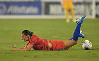 CHARLOTTE, NC - OCTOBER 03: Carli Loyd #10 of the United States takes a tumble during their game versus Korea Republic at Bank of American Stadium, on October 03, 2019 in Charlotte, NC.