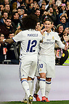 Real Madrid's Marcelo and James Rodriguez during Copa del Rey match between Real Madrid and Sevilla FC at Santiago Bernabeu Stadium in Madrid, Spain. January 04, 2017. (ALTERPHOTOS/BorjaB.Hojas)