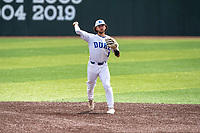 Duke Blue Devils shortstop Ethan Murray (1) on defense against the Liberty Flames in NCAA Regional play on Robert M. Lindsay Field at Lindsey Nelson Stadium on June 4, 2021, in Knoxville, Tennessee. (Danny Parker/Four Seam Images)