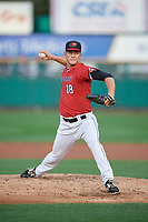 Rochester Red Wings relief pitcher Drew Rucinski (18) delivers a warmup pitch during the first game of a doubleheader against the Scranton/Wilkes-Barre RailRiders on August 23, 2017 at Frontier Field in Rochester, New York.  Rochester defeated Scranton 5-4 in a game that was originally started on August 22nd but postponed due to inclement weather.  (Mike Janes/Four Seam Images)