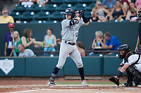 Austin Wells (10) of the Hudson Valley Renegades at bat against the Winston-Salem Dash at Truist Stadium on August 28, 2021 in Winston-Salem, North Carolina. (Brian Westerholt/Four Seam Images)