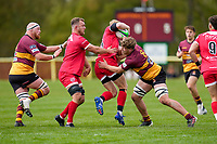 Ollie STONHAM (8) of Ampthill makes a tackle during the Greene King IPA Championship match between Ampthill RUFC and Jersey Reds at Dillingham Park, Ampthill, England on 1 May 2021. Photo by David Horn.