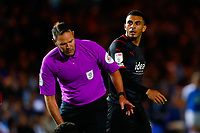 28th August 2021; Weston Homes Stadium, Peterborough, Cambridgeshire, England; EFL Championship football, Peterborough United versus West Bromwich Albion; Karlan Grant of West Bromwich Albion glares at referee James Linington after a penalty appeal is turned down