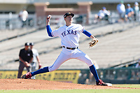Surprise Saguaros starting pitcher Tai Tiedemann (62), of the Texas Rangers organization, delivers a pitch during an Arizona Fall League game against the Peoria Javelinas at Surprise Stadium on October 17, 2018 in Surprise, Arizona. (Zachary Lucy/Four Seam Images)