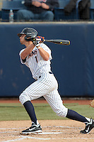 Matt Orloff #1 of the Cal State Fullerton Titans bats against the Loyola Marymount Lions at Goodwin Field on February 29, 2012 in Fullerton,California. Cal State Fullerton defeated LMU 6-2.(Larry Goren/Four Seam Images)