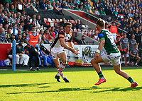 9th October 2021; Brentford Community Stadium, Brentford, London; Gallagher Premiership Rugby, London Irish versus Leicester Tigers; George Ford of Leicester Tigers passes the ball