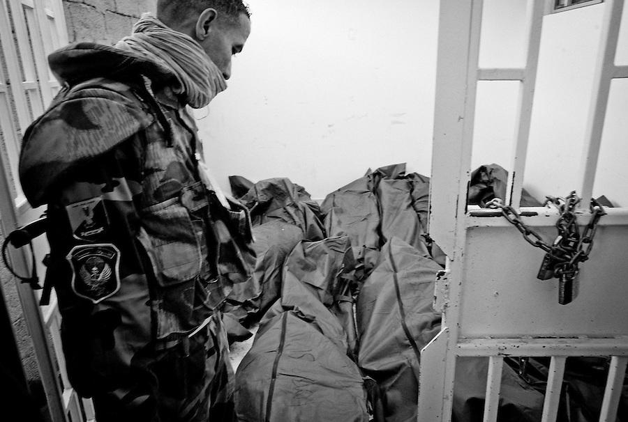 The overflow morgue at Al Jala hospital, Benghazi, Libya.
