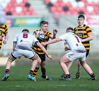 Tuesday 3rd March 2020 | RSA vs RBAI<br /> <br /> RBAI out half Josh Patterson is tackled by Ryan Finlay and Niall Carville during the Ulster Schools' Cup Semi-Final between Royal School Armagh and RBAI at Kingspan Stadium, Ravenhill Park, Belfast, Northern Ireland. Photo by John Dickson / DICKSONDIGITAL