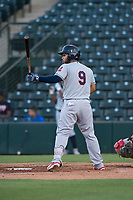 AZL Indians 2 catcher Felix Fernandez (9) at bat during an Arizona League game against the AZL Angels at Tempe Diablo Stadium on June 30, 2018 in Tempe, Arizona. The AZL Indians 2 defeated the AZL Angels by a score of 13-8. (Zachary Lucy/Four Seam Images)