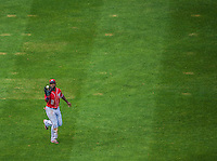 28 July 2013: Washington Nationals outfielder Denard Span in action against the New York Mets at Nationals Park in Washington, DC. The Nationals defeated the Mets 14-1. Mandatory Credit: Ed Wolfstein Photo *** RAW (NEF) Image File Available ***
