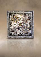 Roman mosaics - Geometric Mosaic. House of Okeanos, Ancient Zeugama, 2nd - 3rd century AD . Zeugma Mosaic Museum, Gaziantep, Turkey.   Against an art background.
