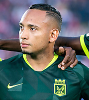 BOGOTA-COLOMBIA, 08-03-2020: Jarlan Barrera de Atletico Nacional durante partido entre Independiente Santa Fe y Atletico Nacional de la fecha 8 por la Liga BetPlay DIMAYOR 2020 jugado en el estadio Nemesio Camacho El Campin de la ciudad de Bogota. / Jarlan Barrera of Atletico Nacional during the match between Independiente Santa Fe and Atletico Nacional on date 6 for the BetPlay League DIMAYOR 2020 played at the Nemesio Camacho El Campin stadium in Bogota city. / Photo: VizzorImage / Daniel Garzon / Cont.