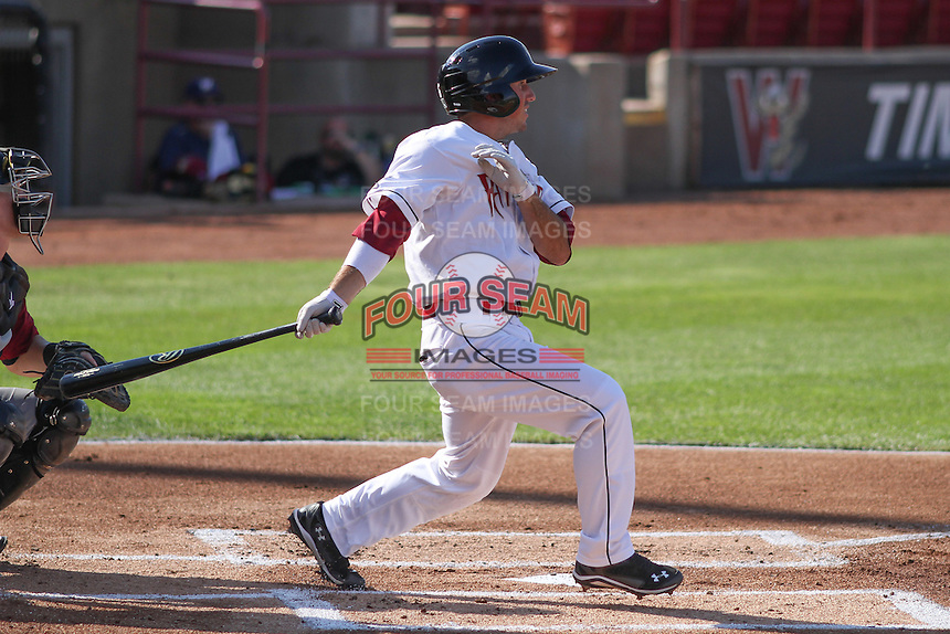 Wisconsin Timber Rattlers infielder Blake Allemand (6) at bat during a Midwest League game against the Quad Cities River Bandits on July 17th, 2015 at Fox Cities Stadium in Appleton, Wisconsin. Quad Cities defeated Wisconsin 4-2. (Brad Krause/Four Seam Images)