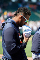 Detroit Tigers left fielder Victor Reyes (22) stands for the national anthem before a Grapefruit League Spring Training game against the Atlanta Braves on March 2, 2019 at Publix Field at Joker Marchant Stadium in Lakeland, Florida.  Tigers defeated the Braves 7-4.  (Mike Janes/Four Seam Images)