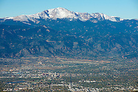 Colorado Springs with Pikes Peak. Oct 31, 2013.