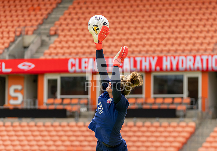 HOUSTON, TX - JUNE 9: Alyssa Naeher #1 of the USWNT makes a save during a training session at BBVA Stadium on June 9, 2021 in Houston, Texas.