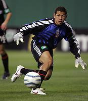 9 April 2005.  DC United goalkeeper Nick Rimando keeps his eye on the ball at RFK Stadium in Washington, DC.