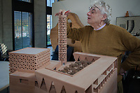 Switzerland. Canton Ticino. Mendrisio. The architect Mario Botta in his office. Architectural model of the mosque in Yinchuan, People's Republic of China. Yinchuan is the capital of the Ningxia Hui Autonomous Region. 30.10.2017 © 2017 Didier Ruef