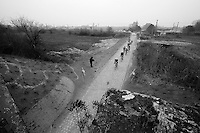 Paris-Roubaix 2013 RECON..Team OmegaPharma-QuickStep at the new Pont Gibus sector