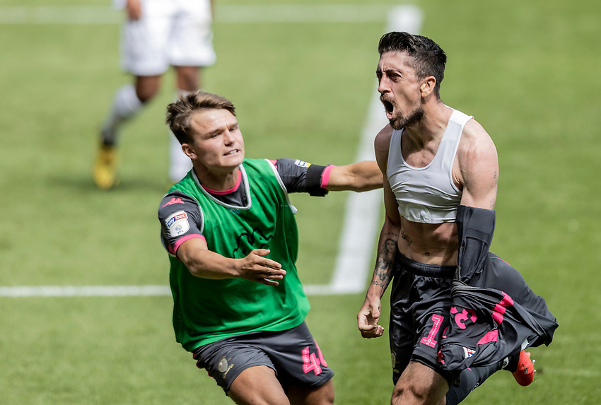Leeds United's Pablo Hernandez (right) celebrates scoring his side's first goal  <br /> <br /> Photographer Andrew Kearns/CameraSport<br /> <br /> The EFL Sky Bet Championship - Swansea City v Leeds United - Sunday 12th July 2020 - Liberty Stadium - Swansea<br /> <br /> World Copyright © 2020 CameraSport. All rights reserved. 43 Linden Ave. Countesthorpe. Leicester. England. LE8 5PG - Tel: +44 (0) 116 277 4147 - admin@camerasport.com - www.camerasport.com