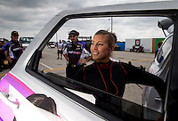 Sept. 1, 2013; Clermont, IN, USA: NHRA top fuel dragster driver Leah Pruett during qualifying for the US Nationals at Lucas Oil Raceway. Mandatory Credit: Mark J. Rebilas-