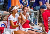 The Hague, Netherlands, 09 June, 2018, Tennis, Play-Offs Competition, Womans doubles: Nicole Thyssen (NED) and Raluca Serban (L) with coach Tom Nijssen<br /> Photo: Henk Koster/tennisimages.com