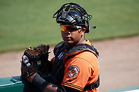 Baltimore Orioles catcher Jean Carrillo (75) during an Instructional League game against the Pittsburgh Pirates on September 27, 2017 at Ed Smith Stadium in Sarasota, Florida.  (Mike Janes/Four Seam Images)