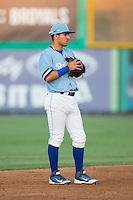 Burlington Royals shortstop Jose Martinez (2) on defense against the Danville Braves at Burlington Athletic Park on August 13, 2015 in Burlington, North Carolina.  The Braves defeated the Royals 6-3. (Brian Westerholt/Four Seam Images)