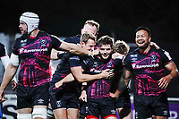 16th October 2020, Stade Maurice David, Aix-en-Provence, France;  Challenge Cup Rugby Final Bristol Bears versus RC Toulon;  Harry Randall (Bristol Bears) celebrates scoring his try