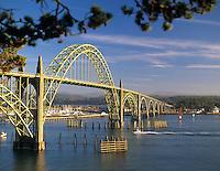 Newport Bay Bridge with boats, Oregon.