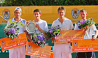 2013-08-17, Netherlands, Raalte,  TV Ramele, Tennis, NRTK 2013, National Ranking Tennis Champ,  Winners doubles: Sidney de Boer(L) and Daan Maasland and runners up Sander Arends and Jannick Lupescu(R)<br /> <br /> Photo: Henk Koster