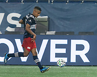 FOXBOROUGH, MA - SEPTEMBER 02: Michael Mancienne #13 of New England Revolution bring ball safely back during a game between New York City FC and New England Revolution at Gillette Stadium on September 02, 2020 in Foxborough, Massachusetts.