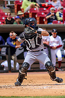 Clinton LumberKings catcher Ryan Scott (7) throws down to second base between innings of a Midwest League game against the Wisconsin Timber Rattlers on April 26, 2018 at Fox Cities Stadium in Appleton, Wisconsin. Clinton defeated Wisconsin 7-3. (Brad Krause/Four Seam Images)