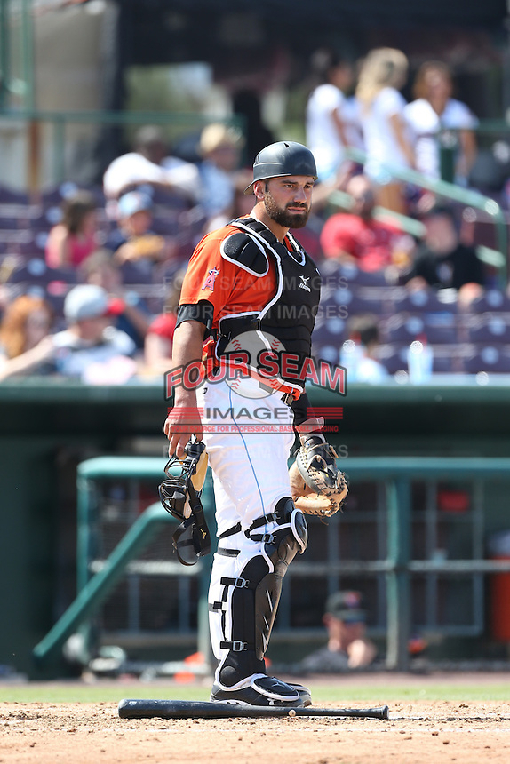 Michael Strentz (22) of the Inland Empire 66ers in the field during a game against the Stockton Ports at The Hanger on April 11, 2015 in Lancaster, California. San Jose defeated Lancaster, 8-3. (Larry Goren/Four Seam Images)