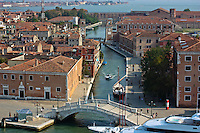 View from a cruise ship of a Venice canal.