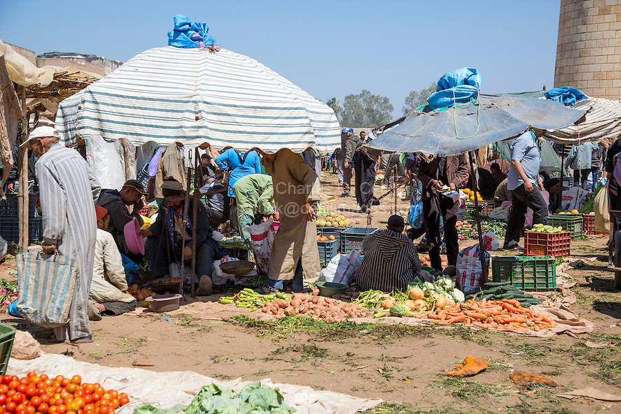 Morocco. Vegetables for Sale, Had Draa Market, Essaouira Province.