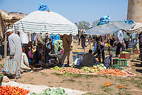 Morocco. Vegetables for Sale, Had Draa Market, Essaouira Province.
