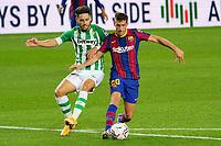 7th November 2020; Camp Nou, Barcelona, Catalonia, Spain; La Liga Football, Barcelona versus Real Betis;  Sergi Roberto holds off a challenge