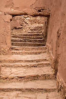 Morocco.  Stairway inside the Ait Benhaddou Ksar, a World Heritage Site.