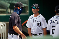 Detroit Tigers Kody Clemens (19) talks with coach Andrew Graham (17) before a Florida Instructional League game against the Pittsburgh Pirates on October 16, 2020 at Joker Marchant Stadium in Lakeland, Florida.  (Mike Janes/Four Seam Images)