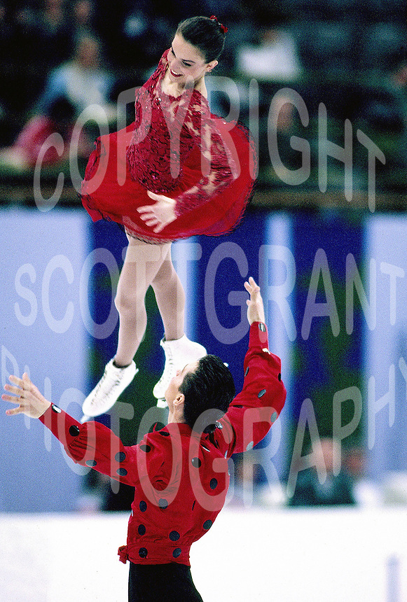 Ekaterina Gordeeva and Sergei Grinkov of Russia skate during the 1994 Winter Olympics in Lillehamer, Norway. Photo copyright Scott Grant.
