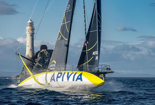 Apivia at the Fastnet Rock, after a strategic master-stroke which made it look as though every other boat in the race had made a tactical error.
