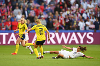 LE HAVRE, FRANCE - JUNE 20: Jonna Andersson #2, Tobin Heath #17 during a 2019 FIFA Women's World Cup France group F match between the United States and Sweden at Stade Océane on June 20, 2019 in Le Havre, France.