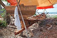 Nungwi, Zanzibar, Tanzania.  Dhow Keel Under Construction, Boat Building.